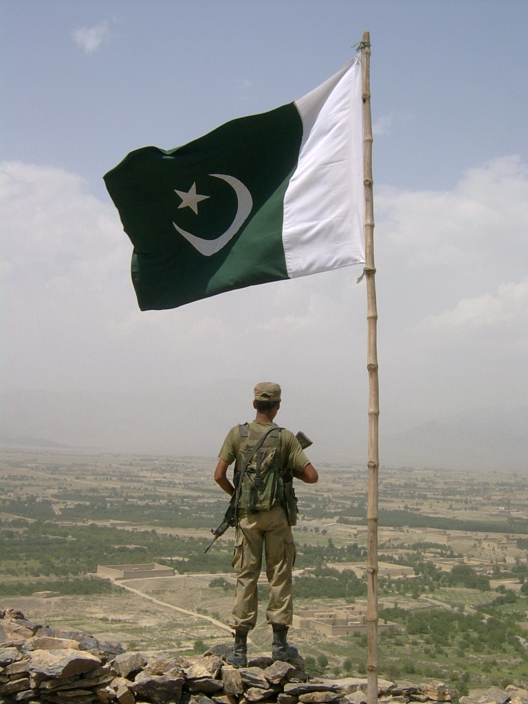 proud soldier with proud flag