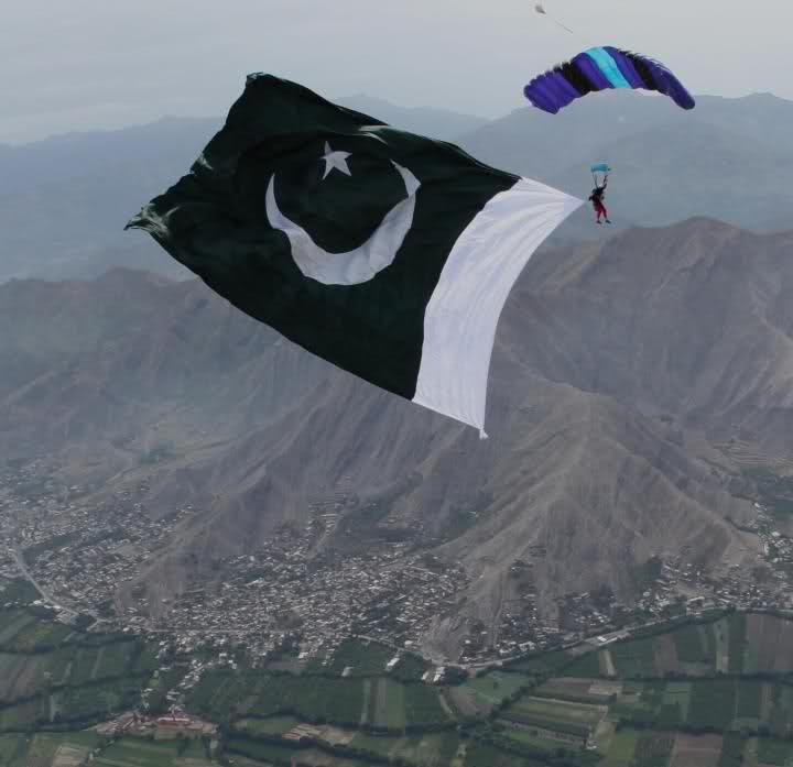 sky jump with pakistani flag