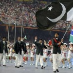 Pakistan's Olympic team follow their national flag-bearer Zeeshan Ashraf during the opening ceremony of the Beijing 2008 Olympic Games