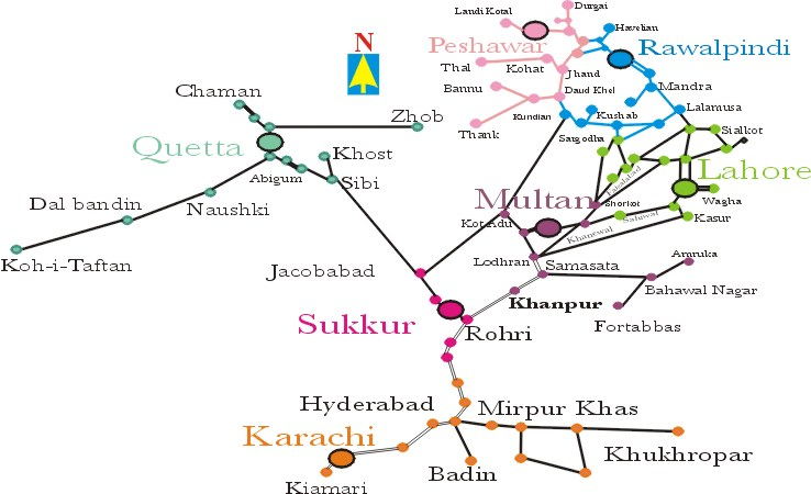pak railway map Pakistan Railway Map