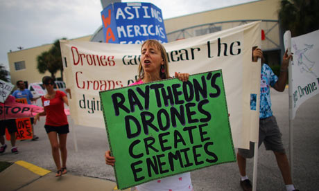 American woman Medea Benjamin protesting against drone attacks