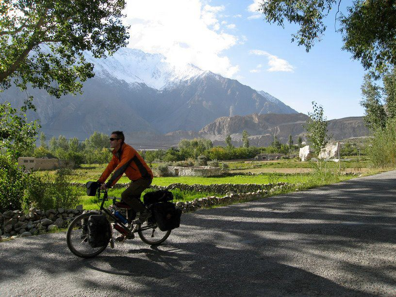 Tourist cycling in Northern areas of Pakistan